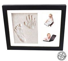 Baby Handprint and Footprint Black Frame Kit From Kiddie Famous. A Perfect Memory Piece To Showcase Pictures and Clay Mold Imprints. Bonus Includes Free Decorative Pieces.