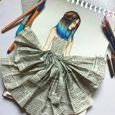 Newspaper Dress In Women& Drawing - Newspaper Dress In Women& Drawing - Dress Design Sketches, Fashion Design Sketchbook, Fashion Design Drawings, Fashion Sketches, Fashion Drawing Dresses, Fashion Illustration Dresses, Newspaper Art, Newspaper Dress, Cool Art Drawings