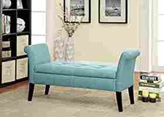 Amazon.com: Furniture of America Gracelle Upholstered Accent Bench with Storage, Blue: Kitchen & Dining