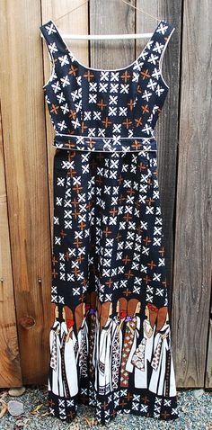 Vintage Malia Honolulu Maxi Dress ~ Great Fabric Design