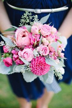 Roses and dahlias for the bridesmaid bouquets // Katie Davis Flowers and Events // Ali Mae Photography