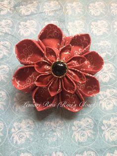 Red Kanzashi Flower Brooch