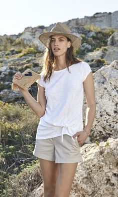 This slightly longer-line T-shirt is tied at the side, adding a simple update to a staple style. Style yours with chino shorts and sandals this Summer. Made in Europe Tie-side detail cotton, modal Shirt Outfit, T Shirt, The White Company, Weekend Wear, Chino Shorts, Clothes For Sale, Panama Hat, How To Make, How To Wear