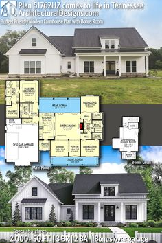 Architectural Designs House Plan 51762HZ client-built in Tennessee. 3+BR, 2+BA, 2,000+ sq. ft. Ready when you are. Where do YOU want to build? #51762HZ #adhouseplans #architecturaldesigns #houseplan #architecture #newhome #newconstruction #newhouse #homedesign #dreamhome #dreamhouse #homeplan #architecture #architect #housegoals #Modernfarmhouse #farmhousestyle #farmhouse