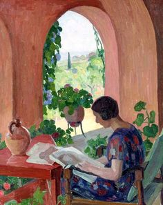 Woman reading on a terrace. Blanche Augustine Camus  (1881-1968), French, painter.