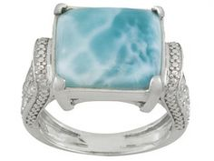 Larimar, Square Cushion Cabochon With White Topaz .90ctw Round Sterling Silver Ring