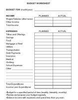 Budget Worksheets: Budget Worksheet