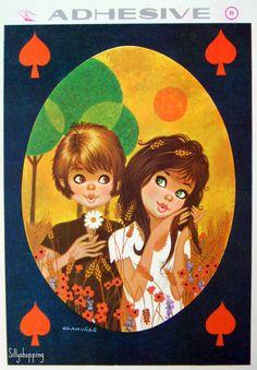 Vintage Big Eyed Couple Adhesive Postcard | por Sillyshopping