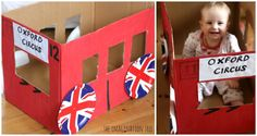 """A London bus from a cardboard box! Perfect for using as a singing prop to go with """"The Wheels on the Bus go Round and Round"""" for preschoolers!"""