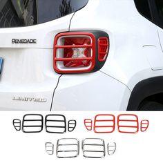 Più nuovo Arrivo Nero Rosso Argento Lampada di Coda Guardie Metallo Luce Posteriore Copre per Jeep Renegade 2015 up