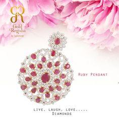 Ruby Diamond Pendant From Gold Regalia Visit: https://goo.gl/Ln56zw #Ring #Bracelets #Gold #Diamond #GoldJewelry #Classyjewelry