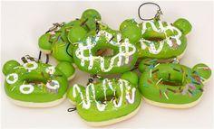 green Rilakkuma bear head donut squishy charm 1