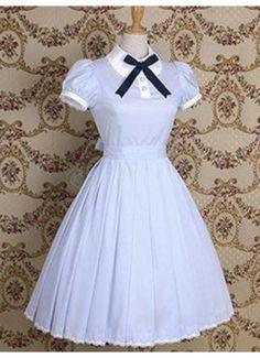 Fresh Light Sky Blue Short Sleeves Lace Ribbon Bow Cotton School Lolita Dress