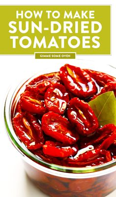 Learn how to make sun-dried tomatoes in the oven! This recipe can be easily customized to be as spiLearn how to make sun-dried tomatoes in the oven! This recipe can be easily customized to be as spicy, garlicky, herby or plain as you prefer. Vegetable Recipes, Vegetarian Recipes, Healthy Recipes, Garden Tomato Recipes, Canned Tomato Recipes, Sundried Tomato Recipes, Tomato Garden, Spinach Recipes, Tomato Plants