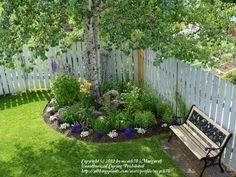 "A neat idea for a circular flower bed in a corner. Looks like the choice of a circular flower bed is because of the trees, not a ""corner""."