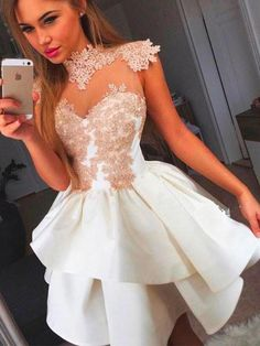 """2017 Homecoming Dress Appliques High Neck Short Prom Dress Party Dress JKS027 Color name: https://www.annapromdress.com/pages/color-chart If the color box is not in your requirement, please check the Color name.When you choose color name, please leave us a message that which color that you want. Please note that all of the dresses are tailored from scratch including the standard sized dresses.How to measure: https://www.annapromdress.com/pages/measuring-guide When you choose """"Customer size""""…"""