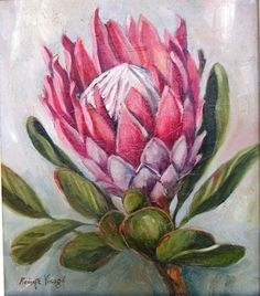Protea                                                       … Protea Art, Protea Flower, Fabric Painting, Painting & Drawing, Bull Painting, Watercolor Flowers, Watercolor Art, Painting Flowers, South African Artists