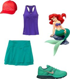 """Ariel - Disney Running costume"" by everettlois on Polyvore"