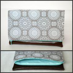 $25 grey patterned fold over clutch with light blue interior{www.facebook.com/babymamasewshop}