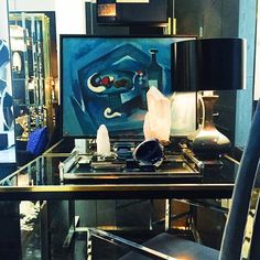 A cool, icy blue story on a hot day  #flairhome #chic #style #lux #design #brass #furniture #art #painting #crystal #vintage #contemporary #black