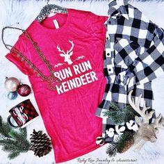 Run Run Reindeer Tee – Ruby Rue Jewelry & Accessories Bella Canvas, Reindeer, Christmas Sweaters, Jewelry Accessories, Turquoise, Unisex, Running, Boutique, Tees