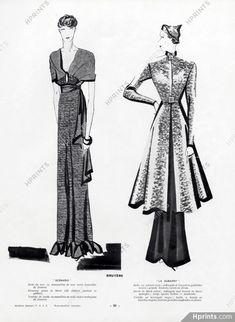 Bruyère 1934 Evening Gown, Redingote, Benigni by Léon Bénigni 1930s Fashion, Vintage Fashion, Magazine Mode, Dress Robes, Historical Costume, Fashion History, Dressmaking, Evening Gowns, The Originals