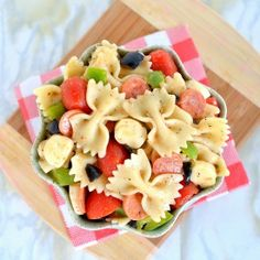 Pasta Salad with all the toppings you love from pizza.