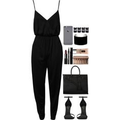 A fashion look from February 2015 featuring playsuit jumpsuit, black patent sandals and yves saint laurent purses. Browse and shop related looks.