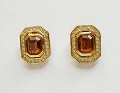 Christian Dior Amber/Citrine Crystals Clip by RockArtemisVintage, $68.00