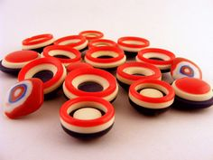 Red White Blue Button Mix Plastic Shank Vintage by Supplize