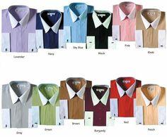 Men's Classic Stylish Fashionable Dress Shirt -white collars LS-SG03F2
