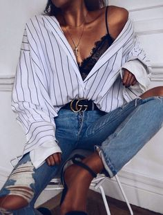 Casual outfit idea _ oversized striped shirt lace bralette top ripped jeans heels 50 best spring outfits casual 2019 fr frauen casual women outfits spri https vict Outfits Con Camisa, Oversized Striped Shirt, Oversized Shirt Outfit, Striped Shirts, White Sweater Outfit, Lace Bralette Top, Lace Camisole, Look Fashion, Womens Fashion