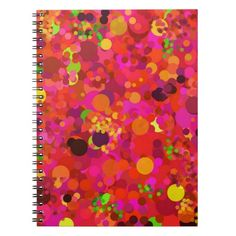 Red Green Gold and Pink Dots Pattern Spiral Notebook- a bright colorful notebook w/my original abstract pattern and design. Brighten up your day at home, school, dorm, or office with this cute fun spiral notebook. Personalize with your name and add a photo, too. www.zazzle.com/abstractpaintings*/