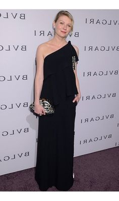 Fabulous One-shoulder embellished tiered gown  inspired by Kirsten Dunst at BVLGARI Celebration Black Dresses 004