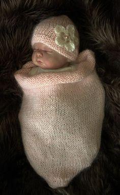 Mano de punto bebé capullo saco Papoose & sombrero foto fotografía Prop 0-6 meses rosa chicas Reino Unido vendedor