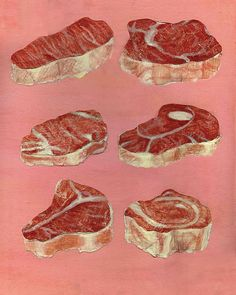 For the steak and Beer Day page. I have not been able to find a steak embellishment/ephemera anywhere! Food Illustrations, Illustration Art, Carnicerias Ideas, Meat Art, Horror, Illustration Botanique, Angel Cake, Beef Steak, In The Flesh