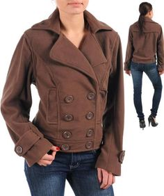 NEW WOMENS LINED BUTTON UP BROWN JACKET - YOU CHOOSE PLUS SIZE 1X, 2X, 3X