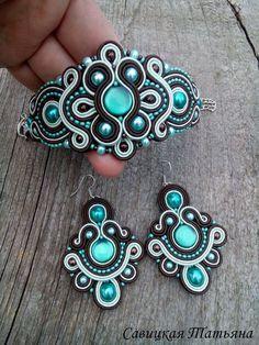 Glamor Turquoise Brown Soutache Set-Turquoise by MagicalSoutache Soutache Bracelet, Soutache Jewelry, Beaded Jewelry, Handmade Jewelry, Beaded Necklace, Handmade Necklaces, Soutache Tutorial, Shibori, Colorful Bracelets