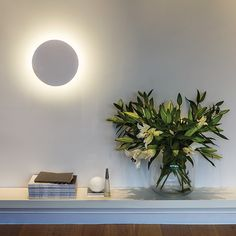 Designed to create subtle lighting on your wall, it's obvious why this light was named Eclipse. It comes in a white plaster finish which can be painted using a good quality emulsion paint, if you so wish. Requires a 13w LED bulb and is IP20 rated.  Dimensions: Diameter 35cm, Depth 4cm