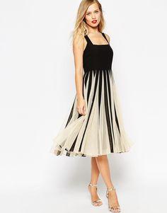 ASOS Mesh Insert Square Neck Midi Dress