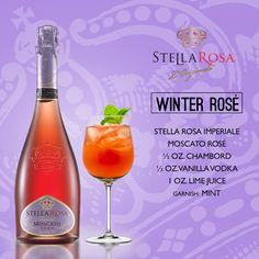 Stella Rosa Wines original cocktail recipe: Winter Rosé. -- Combine 1 oz. chambord, 1 oz. vanilla vodka, 1 oz. lime juice and Stella Rosa Imperiale Moscato Rosé. Garnish with mint.