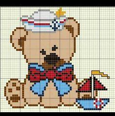 Urso Marinheiro Ponto Cruz Kawaii Cross Stitch, Cross Stitch Baby, Cross Stitch Kits, Counted Cross Stitch Patterns, Cross Stitch Charts, Pixel Crochet, Crochet Cross, Alpha Patterns, Loom Patterns