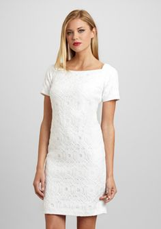 JONES NEW YORK White Short Sleeve Lace Dress ($59.99)