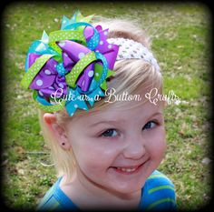Large Boutique Hairbow Coloful and bright by tootoocute4you, $6.50