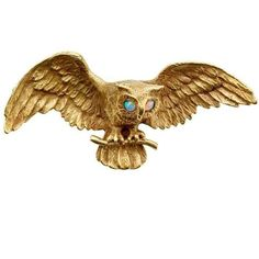 Pre-owned Art Nouveau 14K Gold Owl Pin with Opal Eyes ($4,950) ❤ liked on Polyvore featuring jewelry, brooches, art nouveau brooch, antique broach, gold brooch, 14k gold brooch and antique brooch