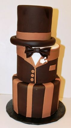 Considering a cake for the groom? Take a look at this chocolate tuxedo cake.