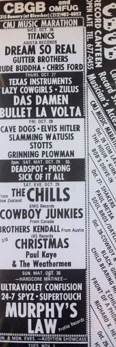 CBGB Flyer from 1988. We went to see The Chills, Cowboy Junkies, the Brothers Kendall and Christmas