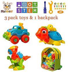 97d89e89183 MARKKEER Dinosaur Toys Take Apart Toys with tools Car