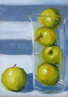 Still Life Green Apples, Blue Stripe