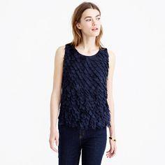 """We stitched pretty chiffon petals onto the front of this merino wool sweater for when you want to stay warm but still look chic. <ul><li>Semifitted.</li><li>Body length: 21 1/2"""".</li><li>Hits at hip.</li><li>Merino wool, poly.</li><li>Dry clean.</li><li>Import.</li></ul>"""